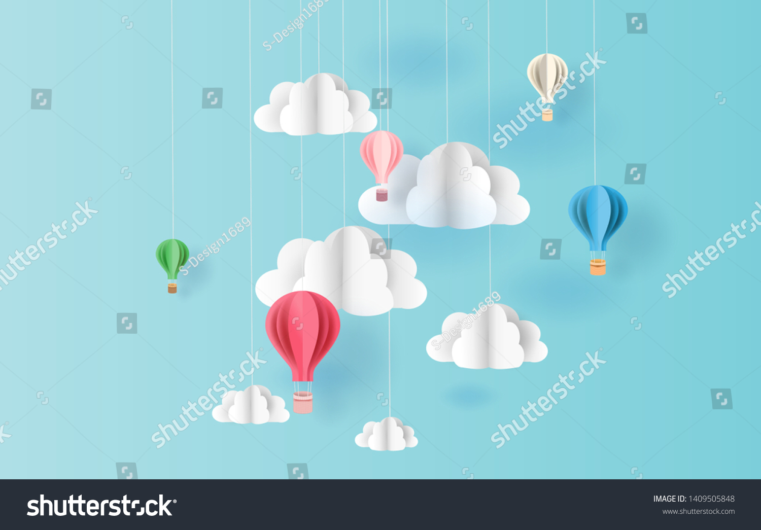 paper art style of balloons colorful color floating in air blue sky background.Creative design space for Christmas day,Festival,holiday,summer season,springtime.Good idea Pastel color.vector EPS10