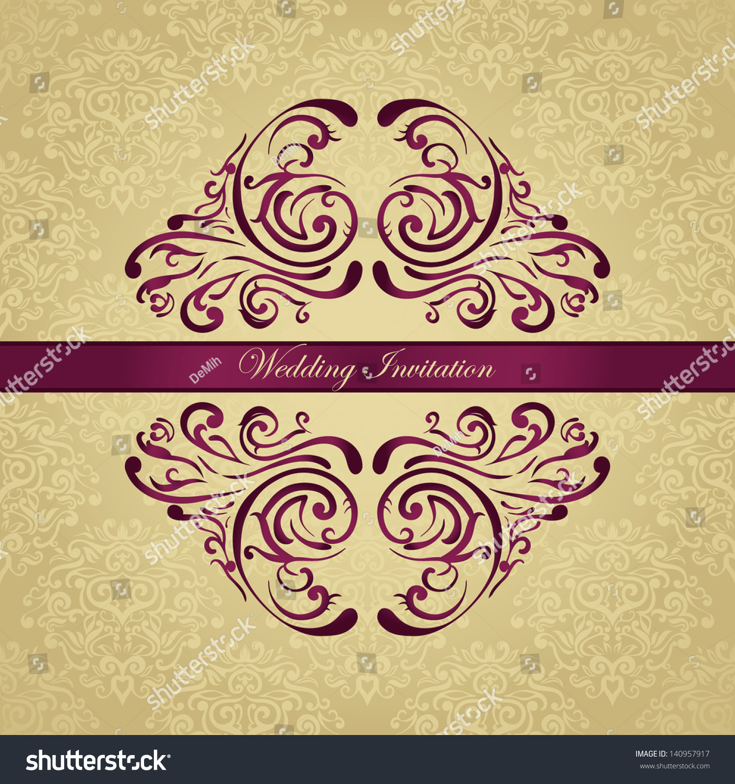 Royal wedding invitation on golden background stock vector 140957917 royal wedding invitation on golden background stopboris Image collections