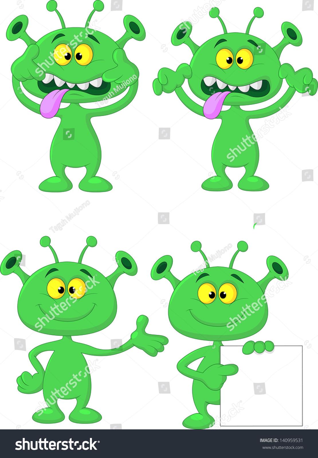 Cute green alien cartoon collection set stock illustration