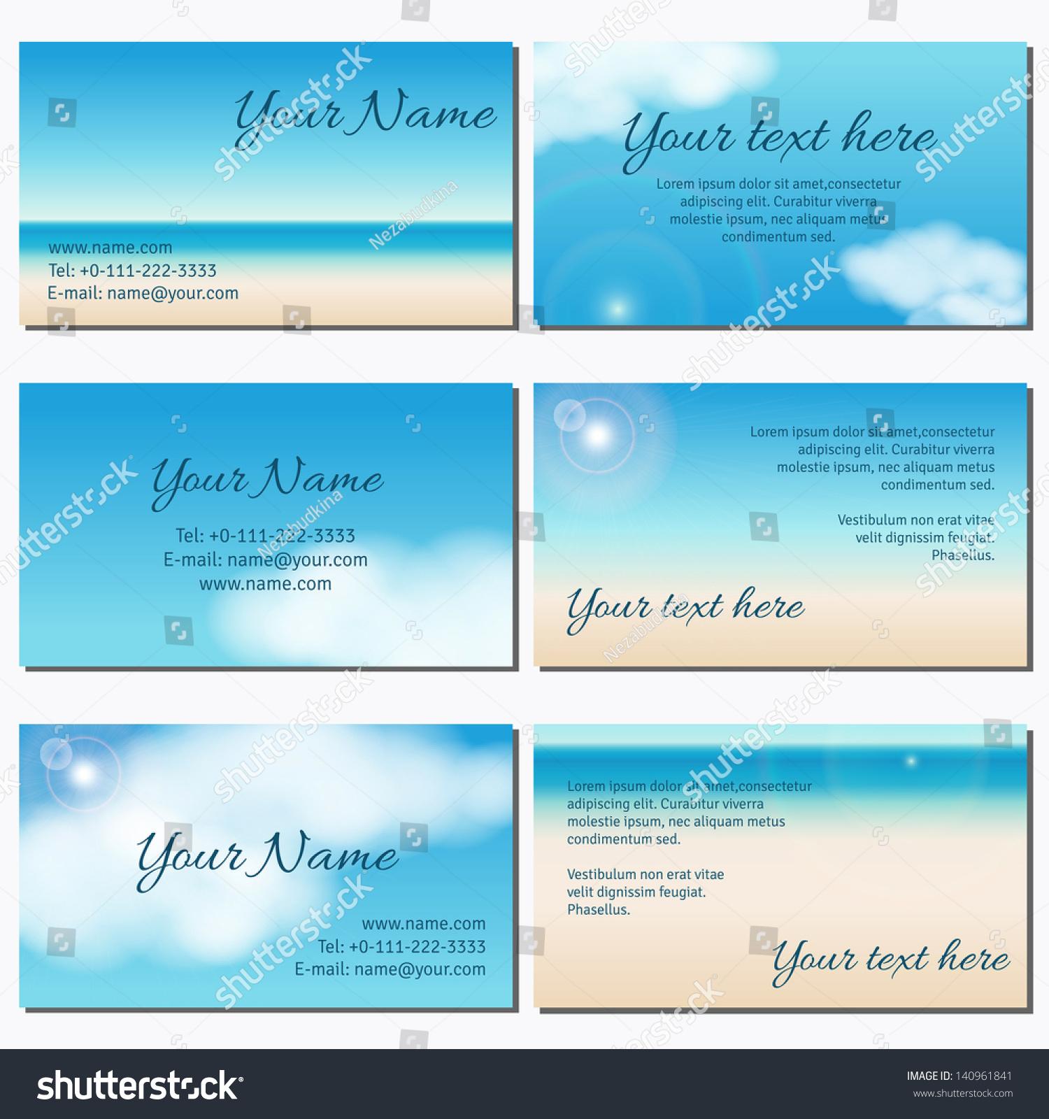 set six horizontal business cards sky stock vector