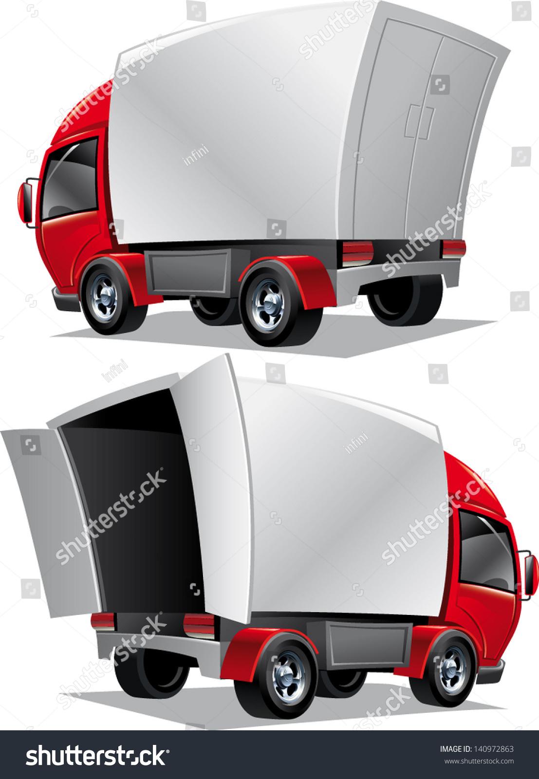 Vector Cartoon Delivery Cargo Open Truck - 140972863 ...
