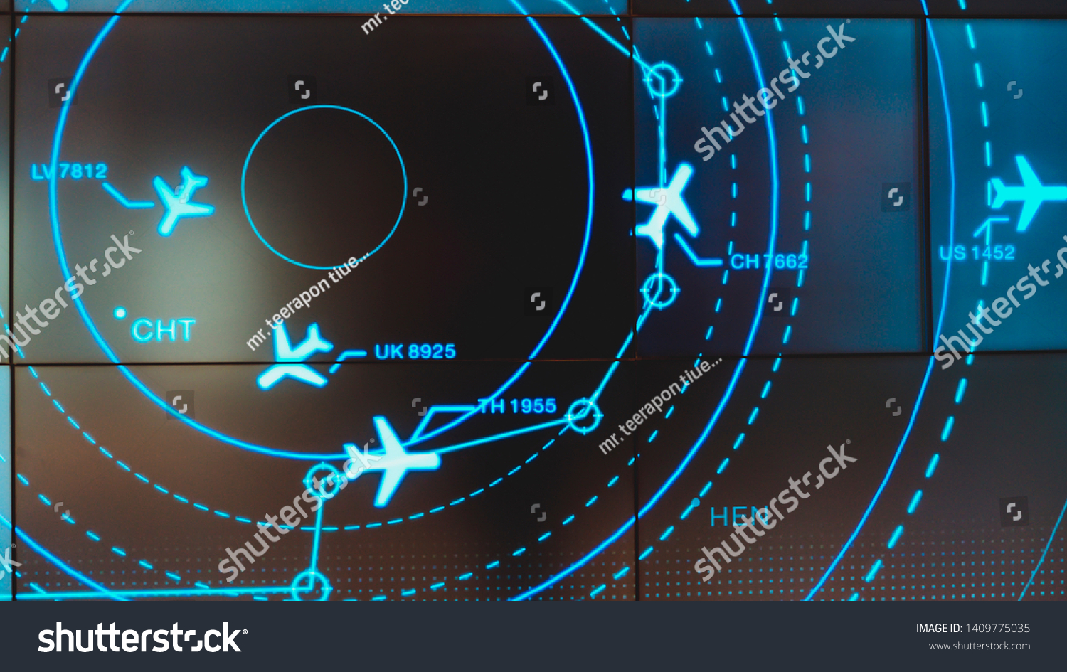 Simulation screen showing various flights for transportation and passengers. #1409775035