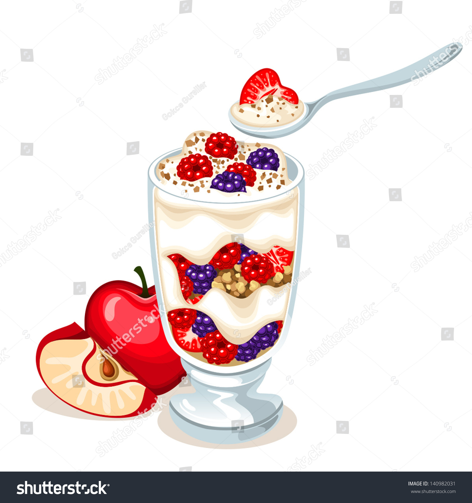 vector fruit parfait stock vector 140982031   shutterstock