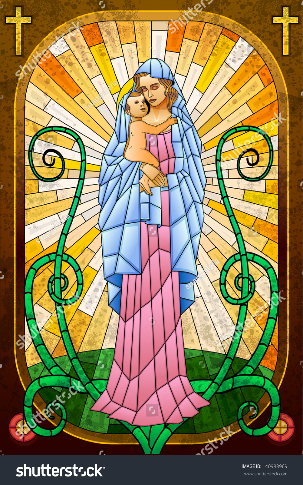 Easy Edit Vector Illustration Mother Mary Stock Vector