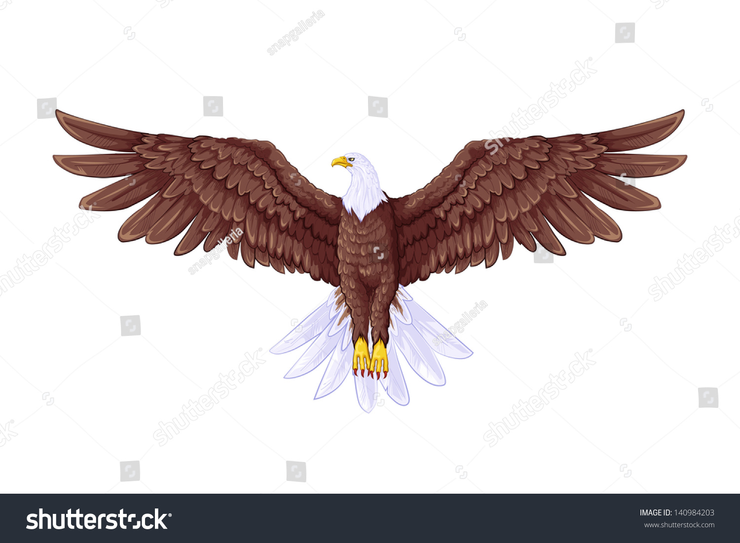 Easy To Edit Vector Illustration Of Flying Eagle ...