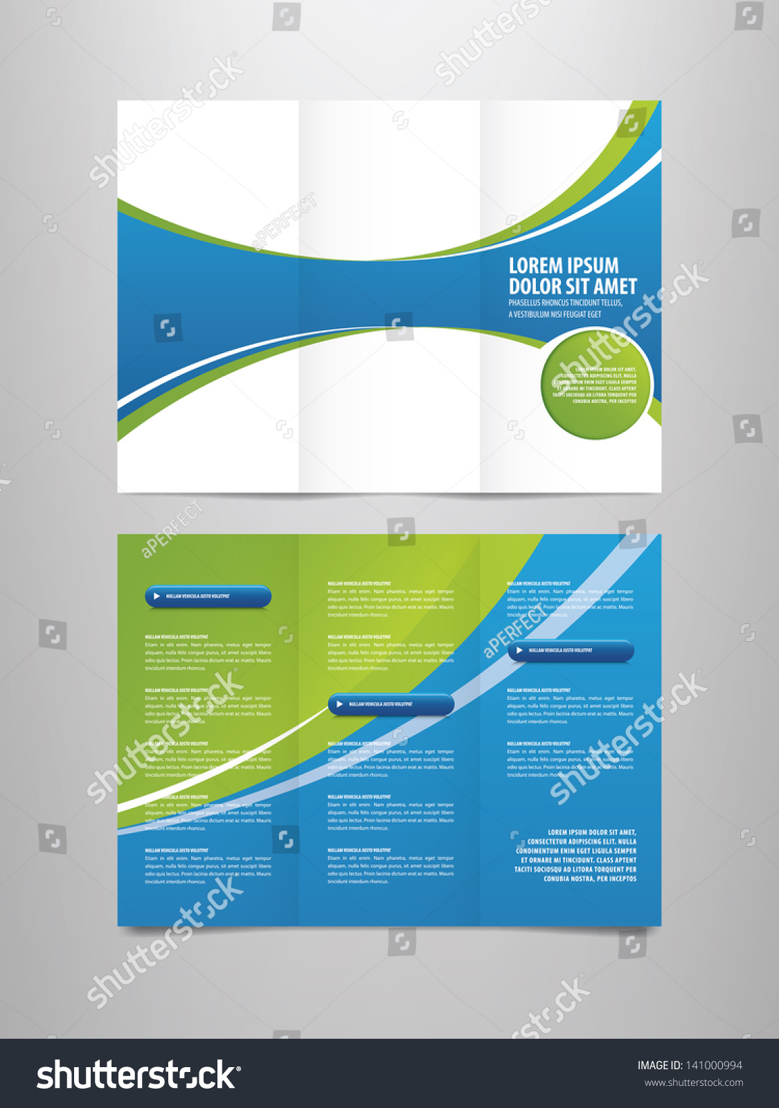 tri fold business brochure template - tri fold business brochure template stock vector 141000994