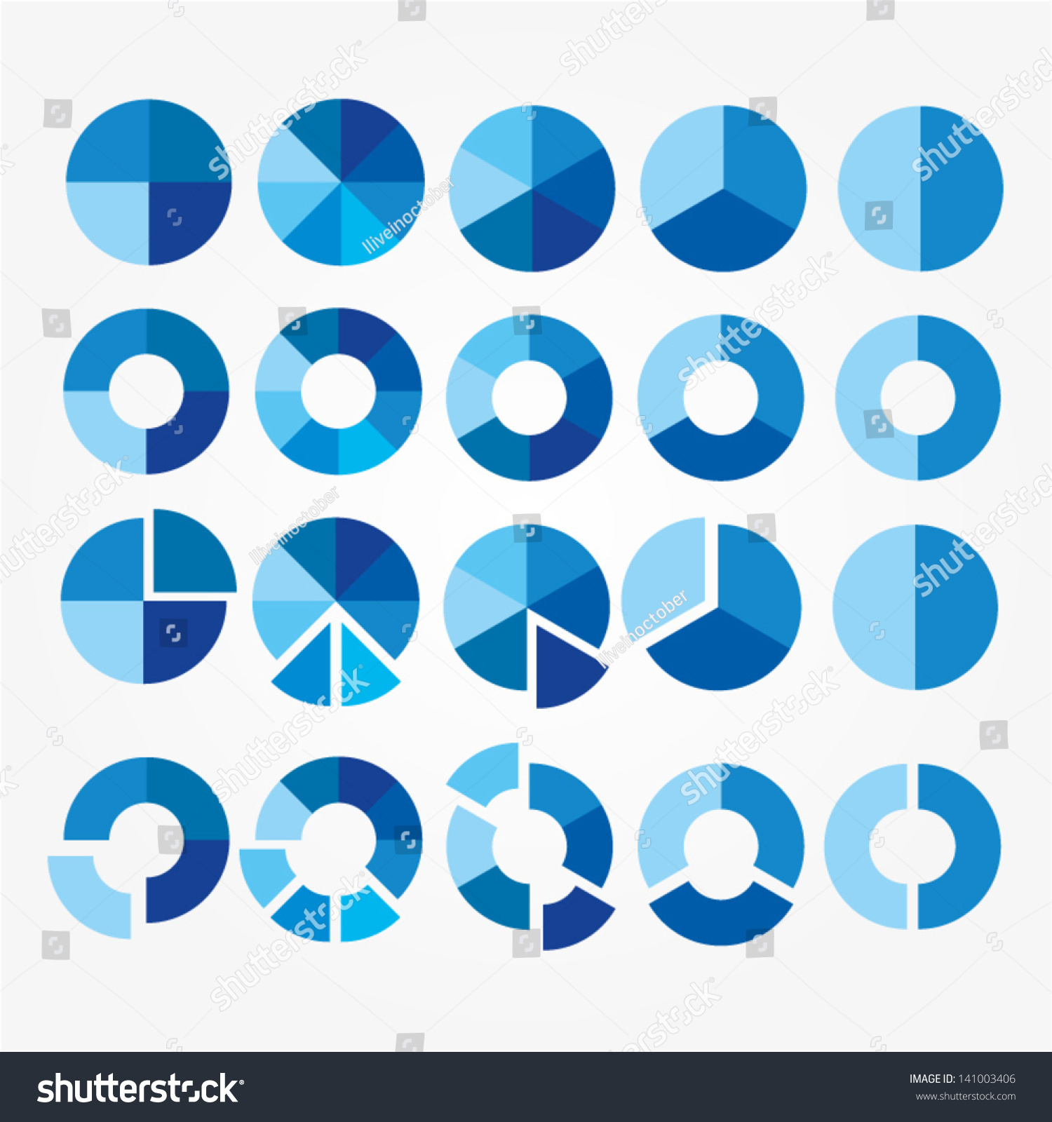 Set Blue White Circle Diagram Your Stock Vector (Royalty Free ...