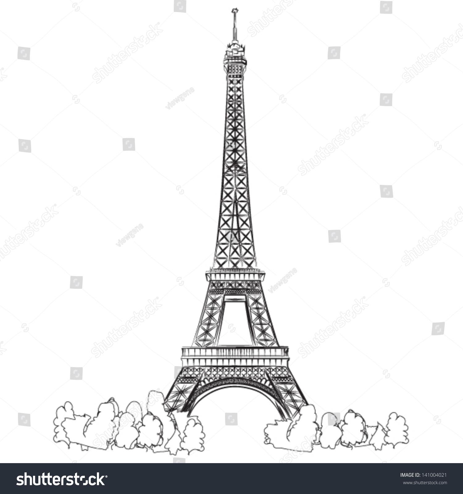 Line Art Eiffel Tower : Eiffel tower paris vector lineart illustration stock