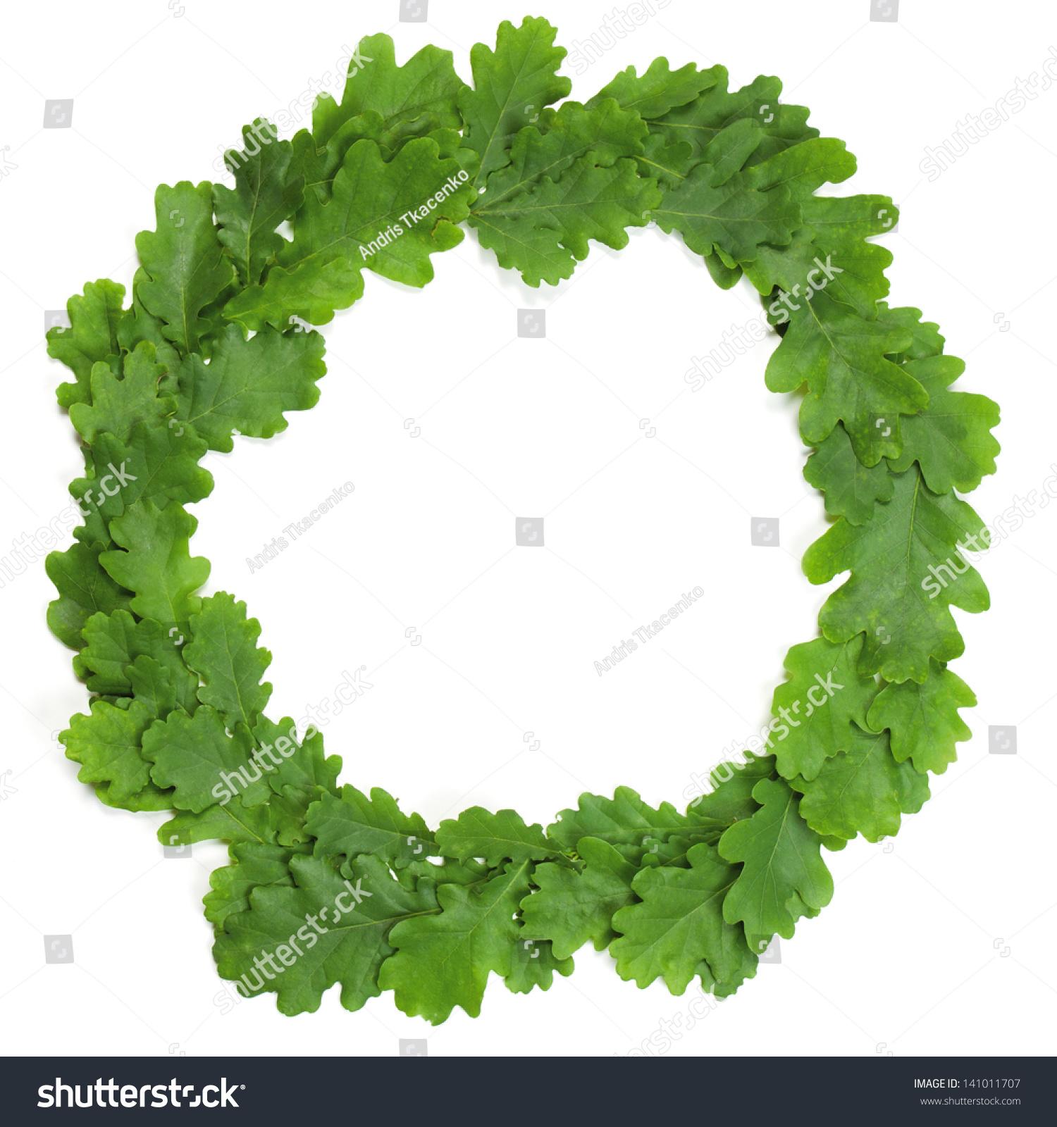 wreath oak leaves isolated on white stock photo 141011707