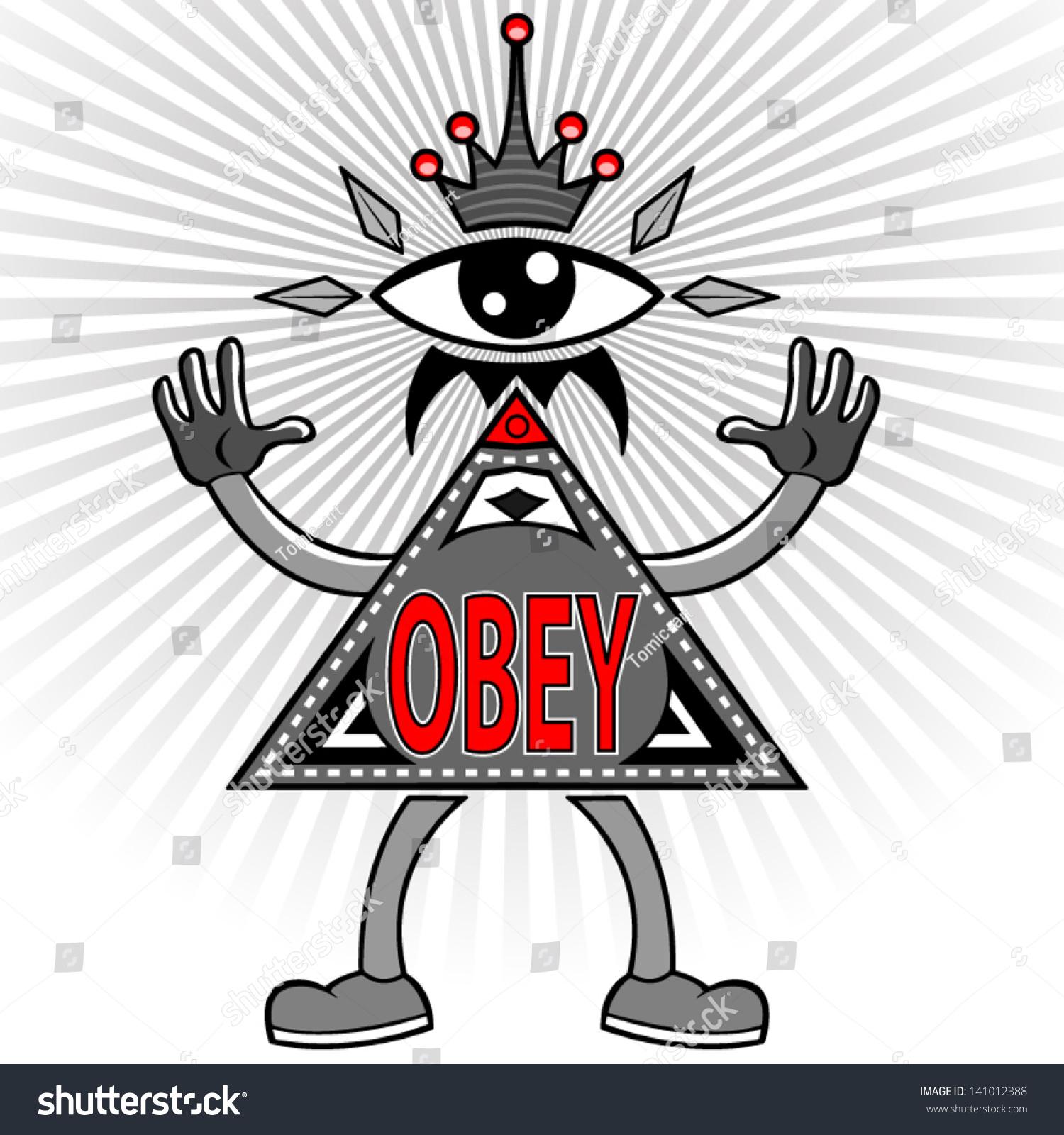 cartoon vector new world order pyramid stock vector 141012388