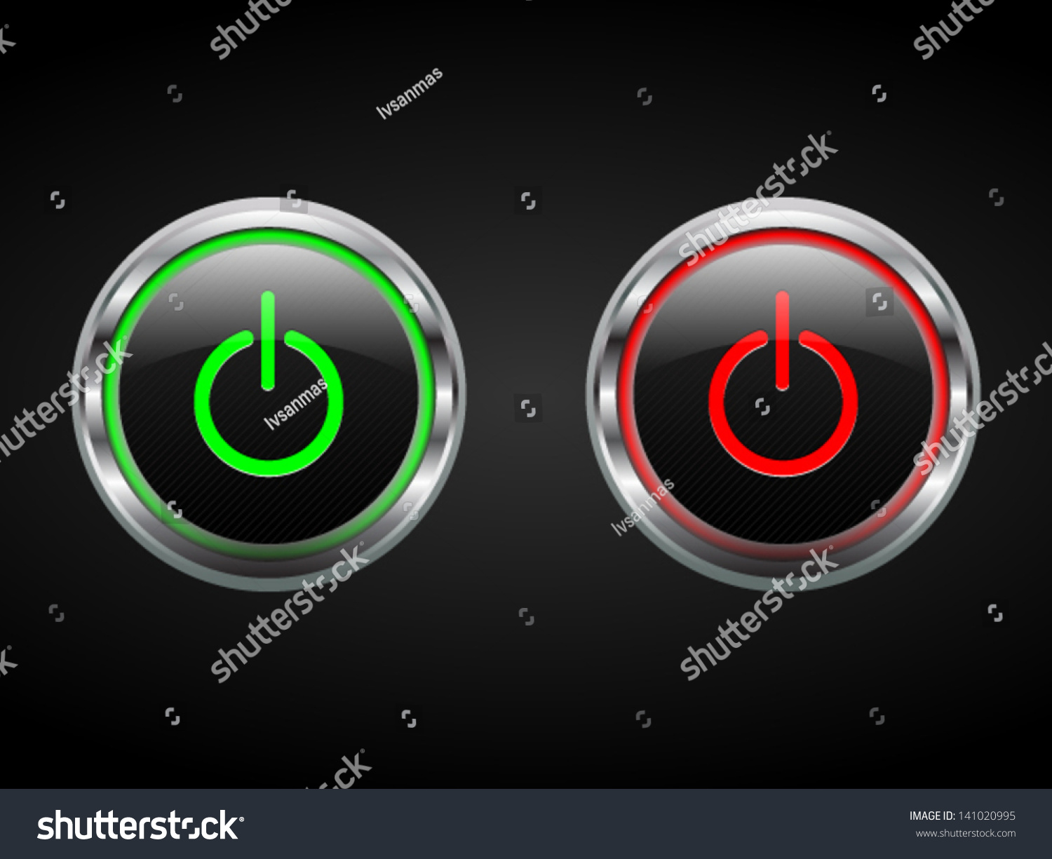 Power Buttons Green Red Turn Onoff Stock Vector (Royalty Free ...