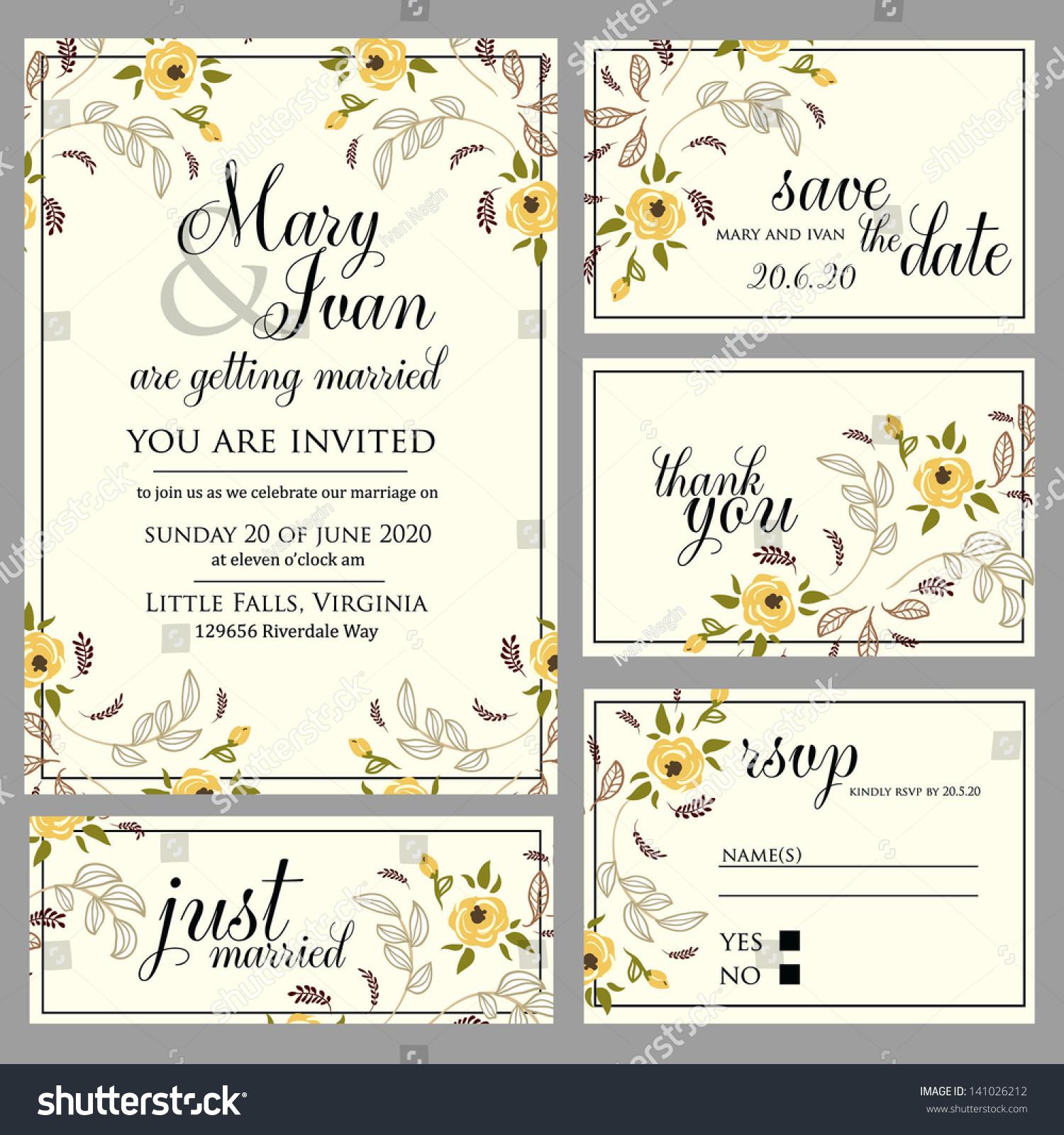 Wedding Invitation Thank You Card Save Vector 141026212 – Wedding Stationery Thank You Cards