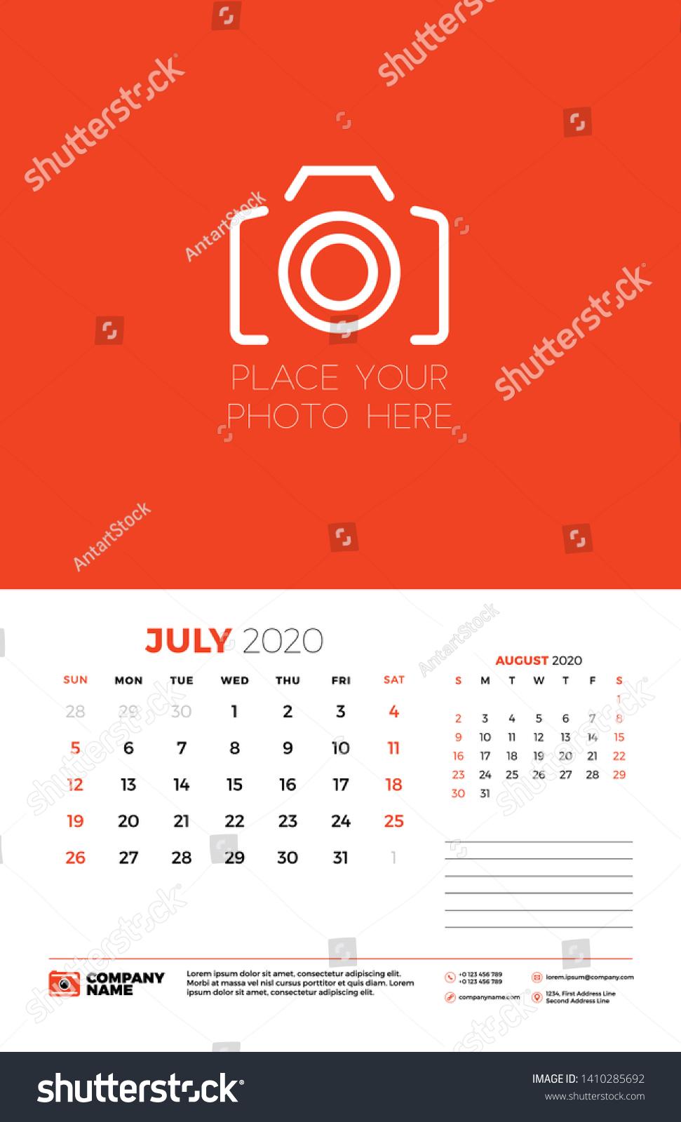 July 2020 Wall Calendar Planner Template