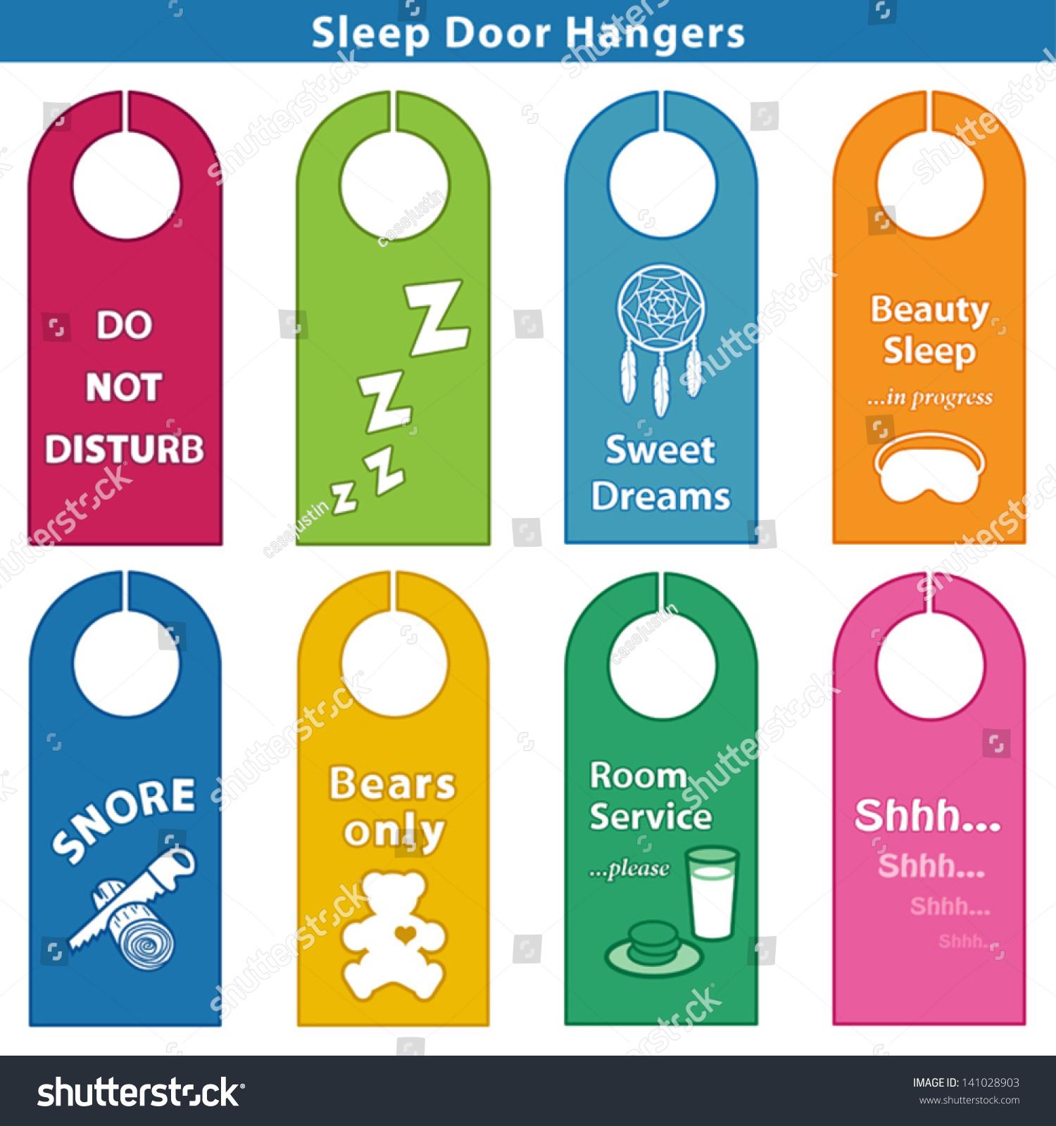 Bedroom Door Hanger Sleep Signs bright colors Do Not Disturb ZZZs Sweet   Bedroom Door Hanger. Kids Bedroom Signs