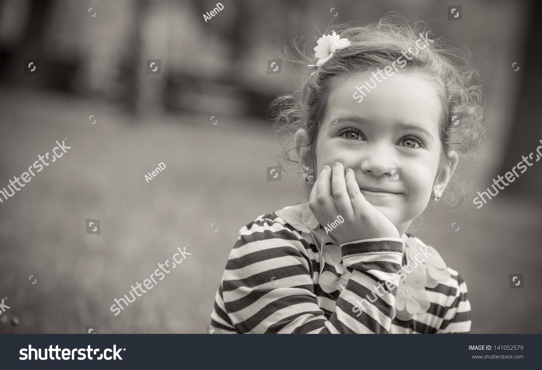 Black White Portrait Cute Little Girl Stock Photo Edit Now 141052579