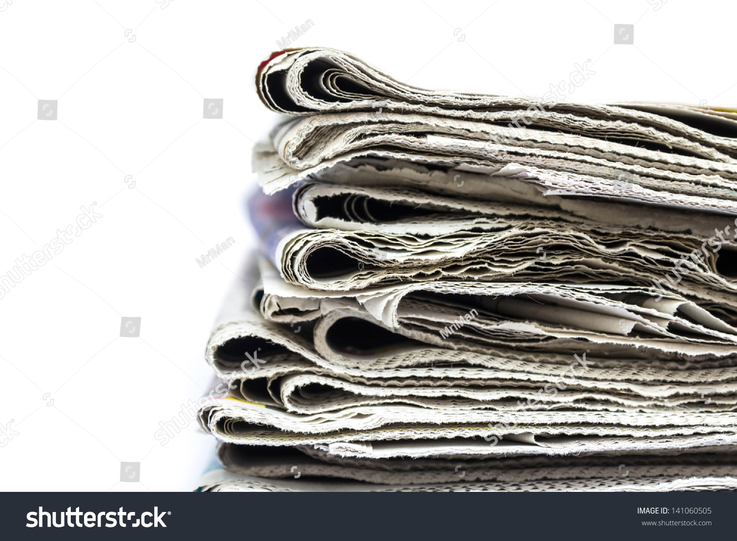 stack of newspapers isolated on white | ez canvas