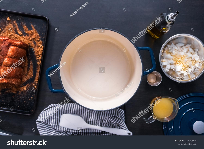 Flat Lay Cooking Boneless Pork Roast Stock Photo Edit Now 1410606020