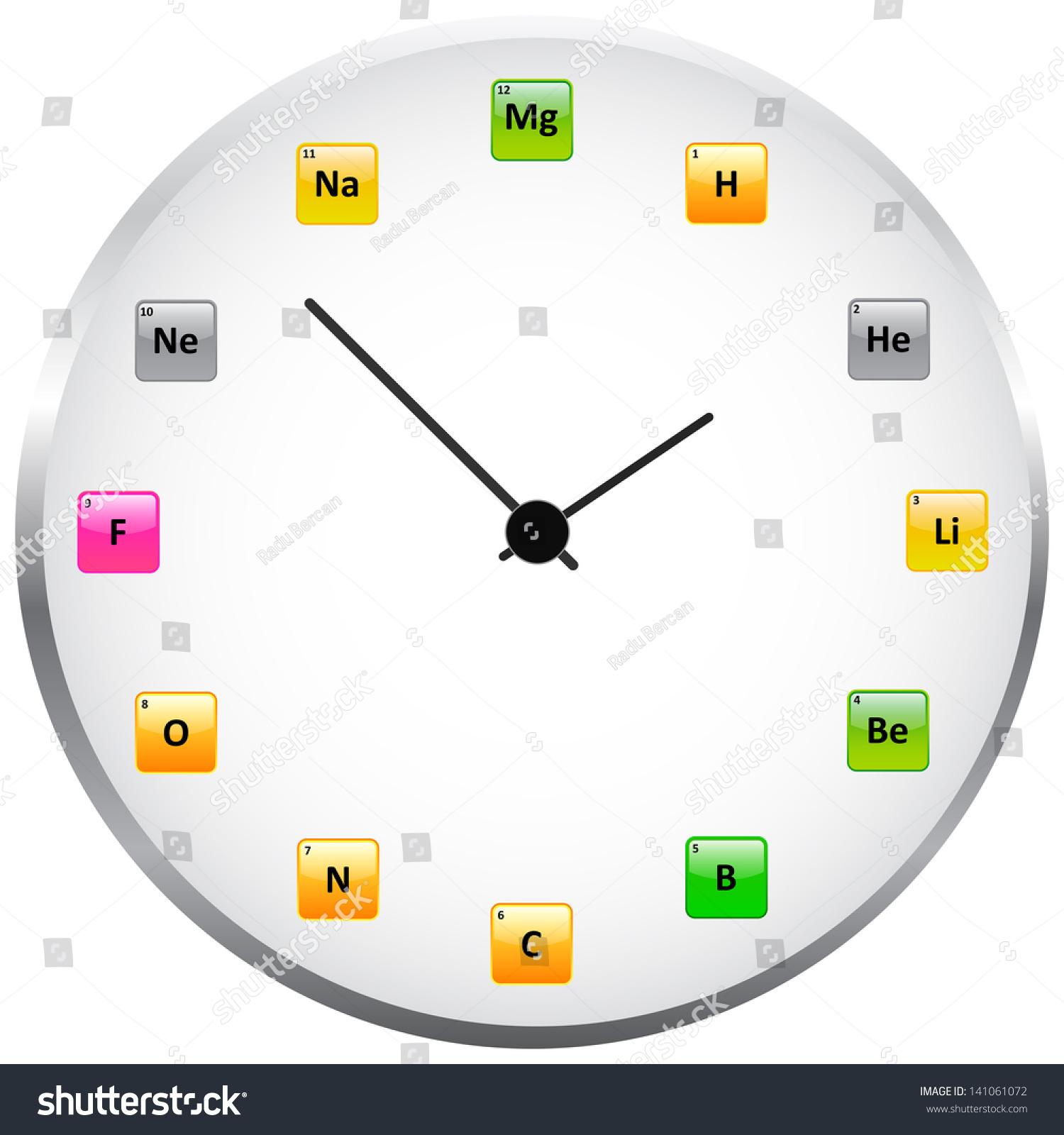 Periodic table clock stock vector 141061072 shutterstock periodic table clock gamestrikefo Gallery