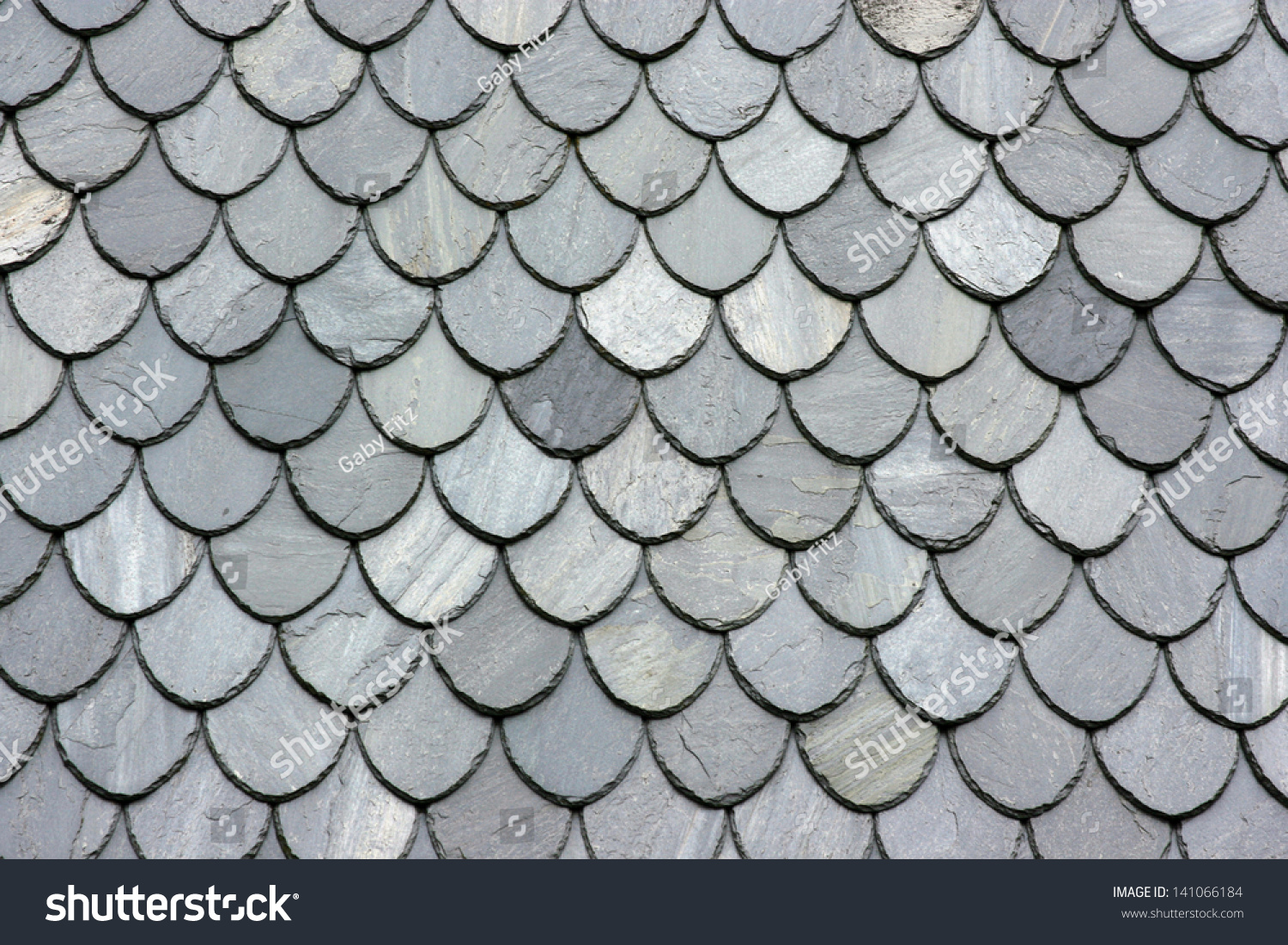 Close Up Of Slate Roof Tiles Background Stock Photo