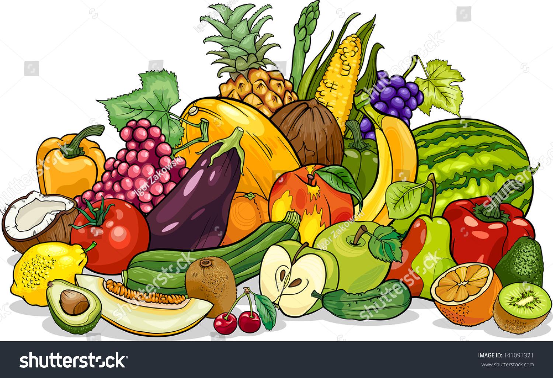 cartoon vector illustration fruits vegetables big stock vector