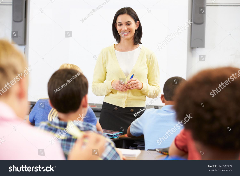 Teacher Standing Front Class Pupils Stock Photo 141106999
