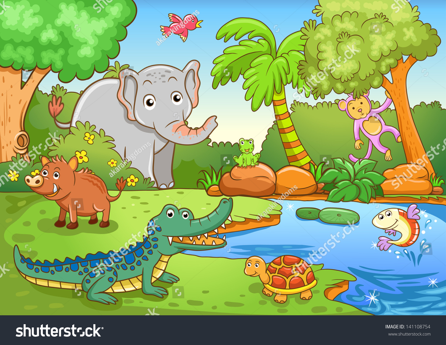 wild boar life cycle diagram animals forest eps10 file simple gradients stock vector  animals forest eps10 file simple gradients stock vector