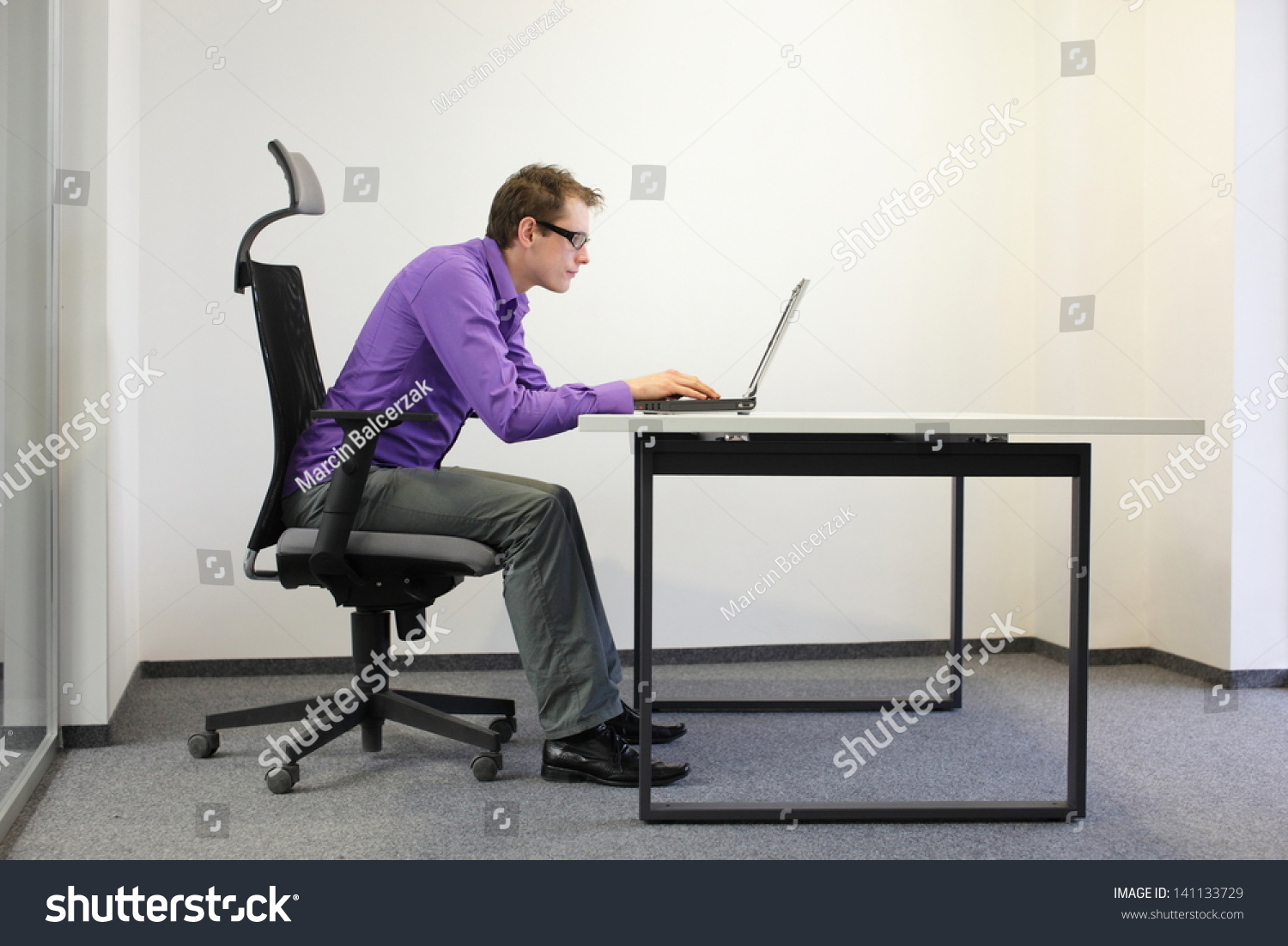 Bad Sitting Posture Laptop Shortsighted Business Stock