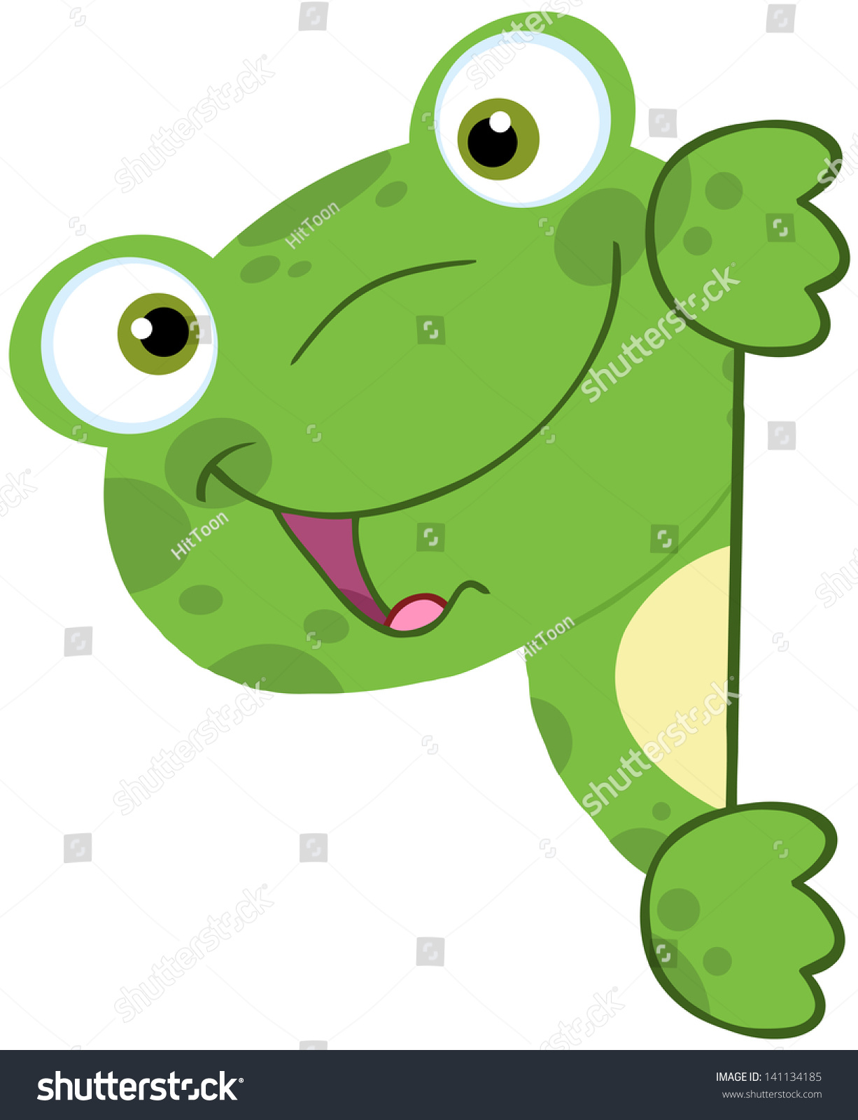 cute frog smiling behind blank sign stock vector 141134185