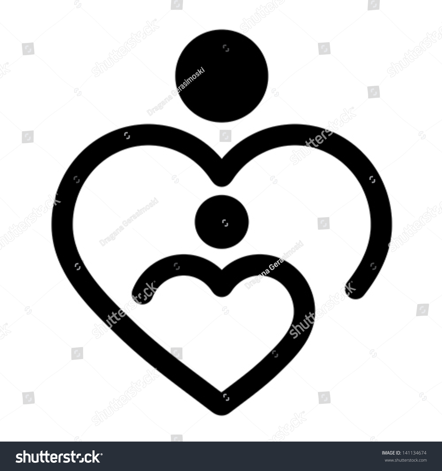 Nursery little child mother concept heart stock vector 141134674 nursery little child and mother concept heart shape medical symbol vector isolated on white buycottarizona Images