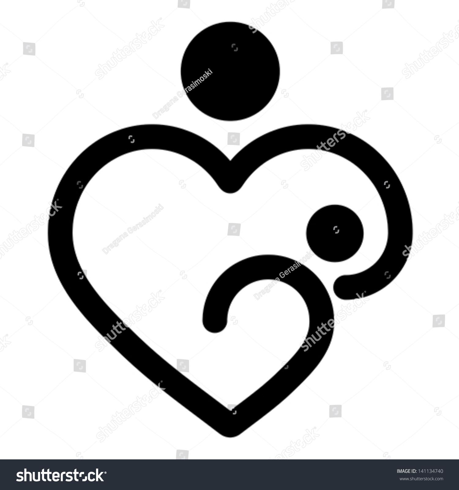 Breastfeeding heart symbol view symbol biocorpaavc