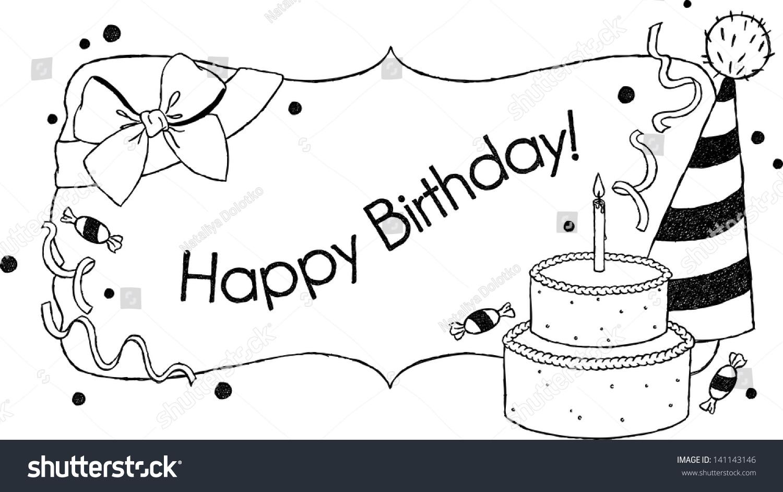 Birthday Card Uncolored Hand Drawn Birthday Stock Illustration
