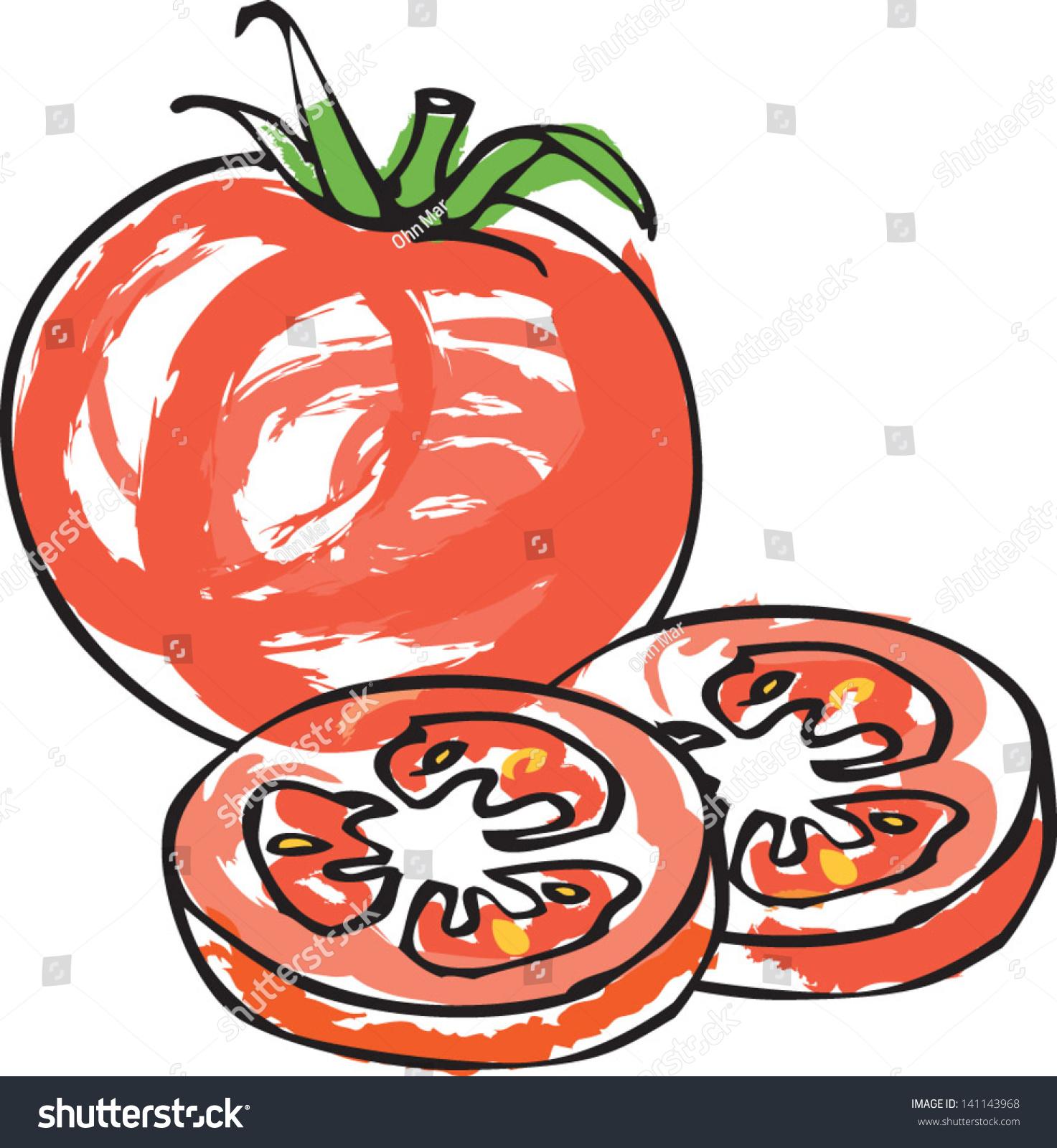 Fresh Tomato With Tomato Slices Stock Vector Illustration ...