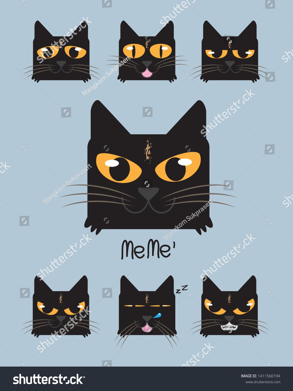 Cute Black Cat Face Cartoon Stock Vector Royalty Free 1411560194