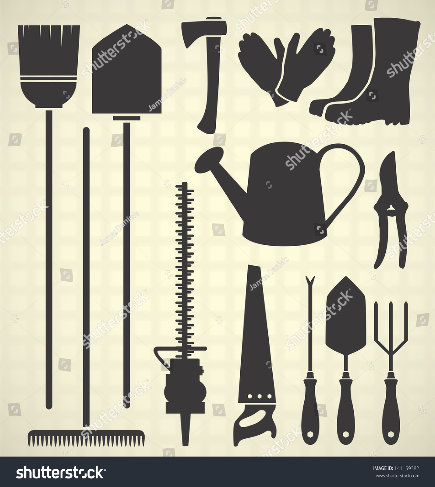 Vector set gardening tool silhouette collection for Gardening tools vector