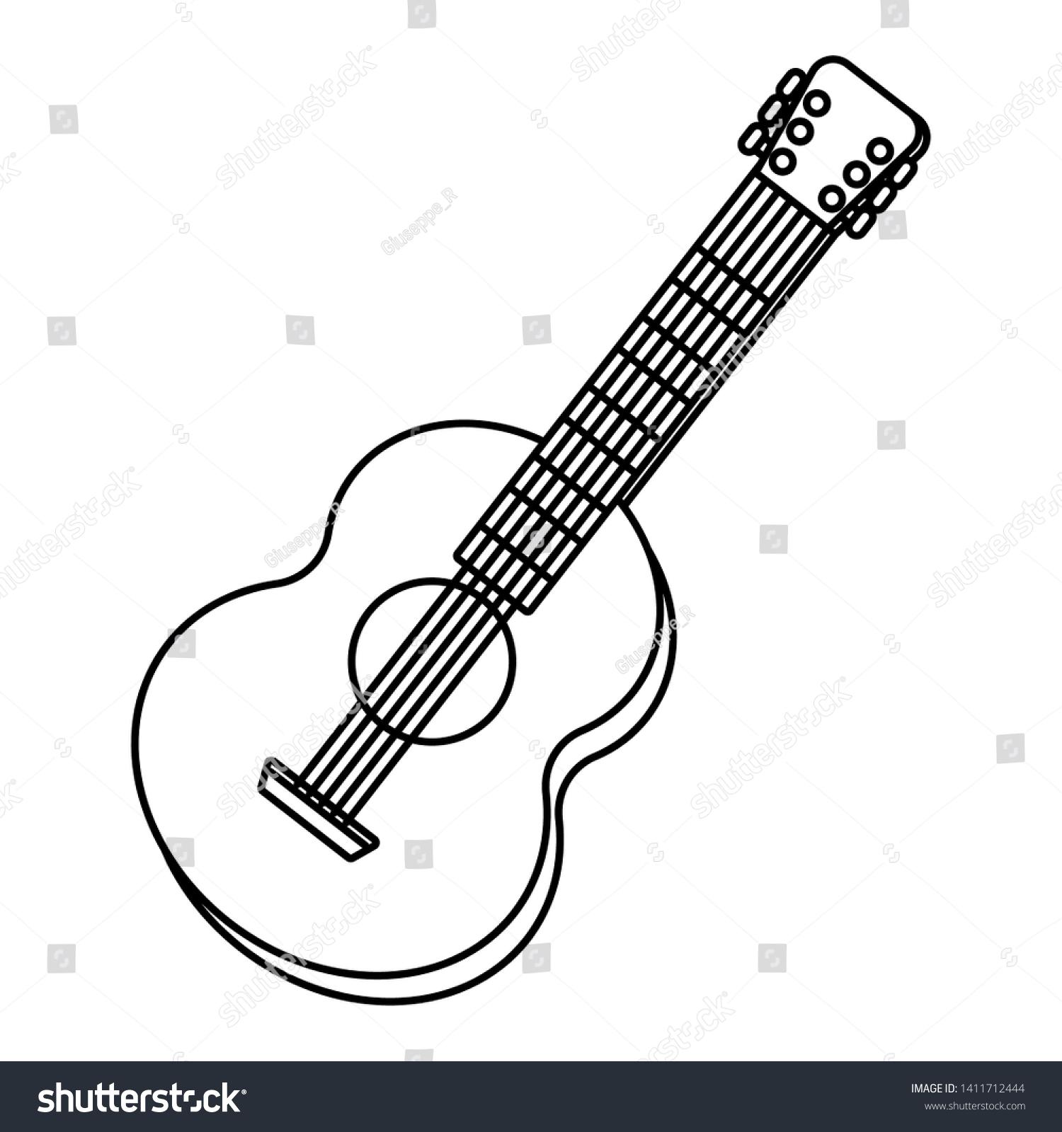 Guitar Tilted Music Instrument Cartoon Black Stock Vector Royalty Free 1411712444