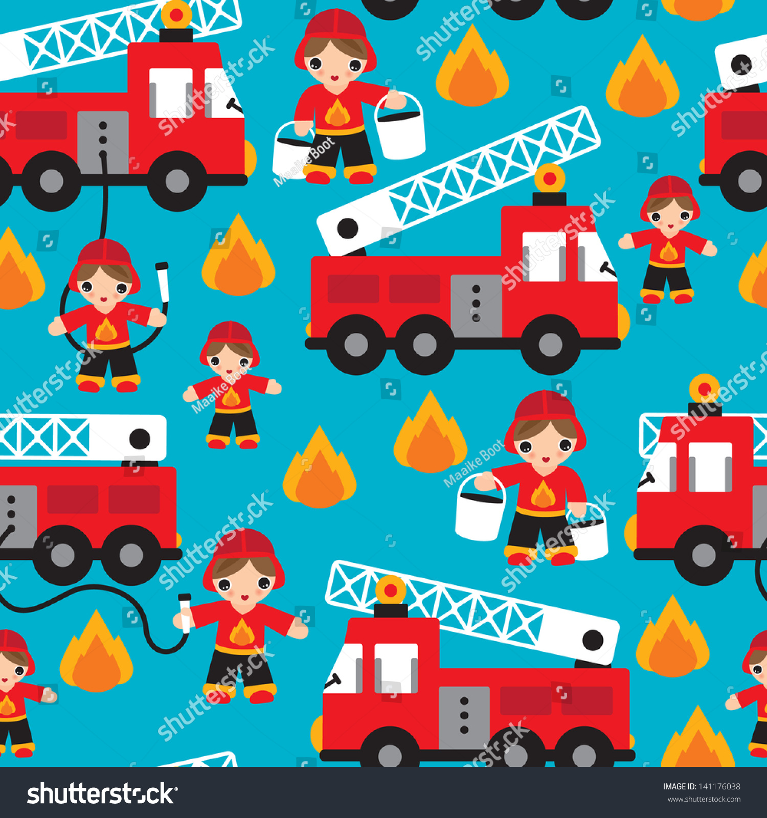 Seamless kids fire men truck illustration stock vector for Little blue truck fabric