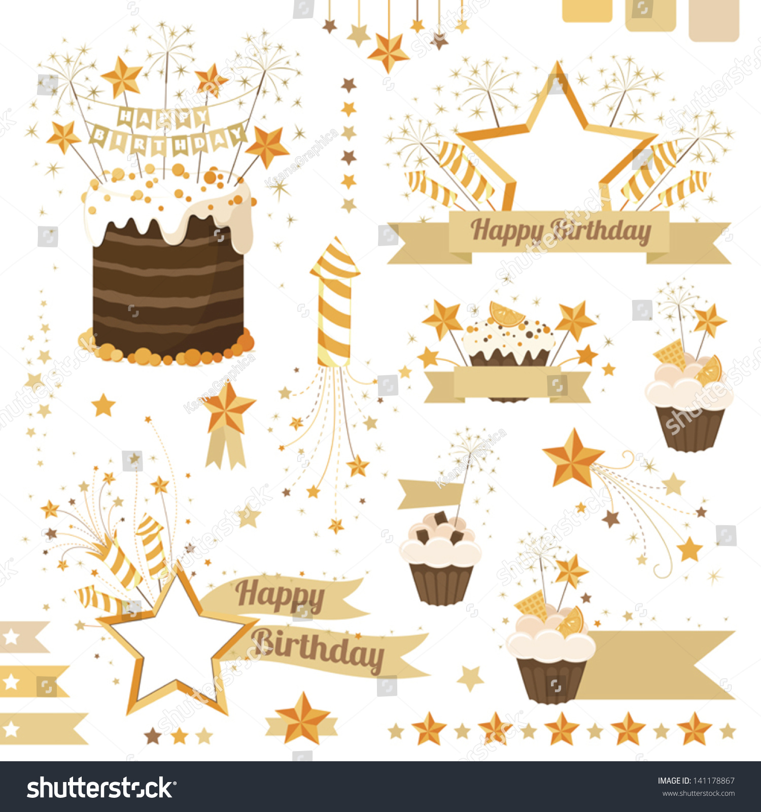 Birthday Celebration Design Elements Banners Borders Stock