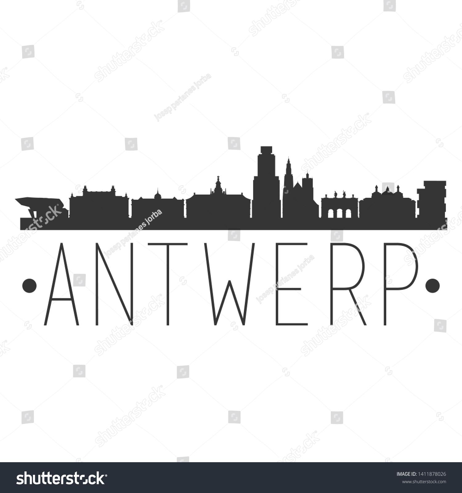 Antwerp Belgium City Skyline Silhouette City Stock Vector Royalty Free 1411878026