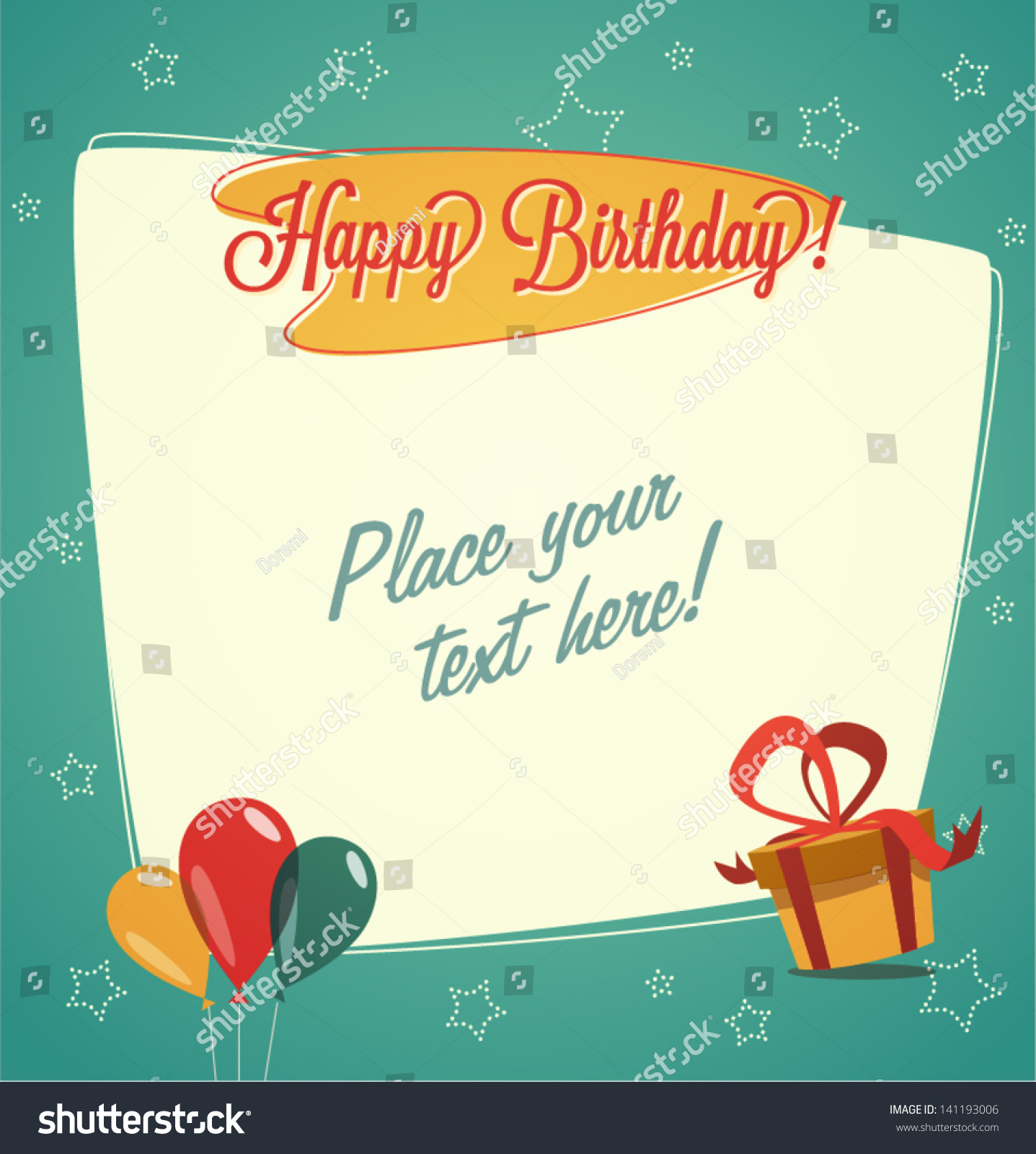 retro vintage happy birthday card stock vector illustration, Birthday card