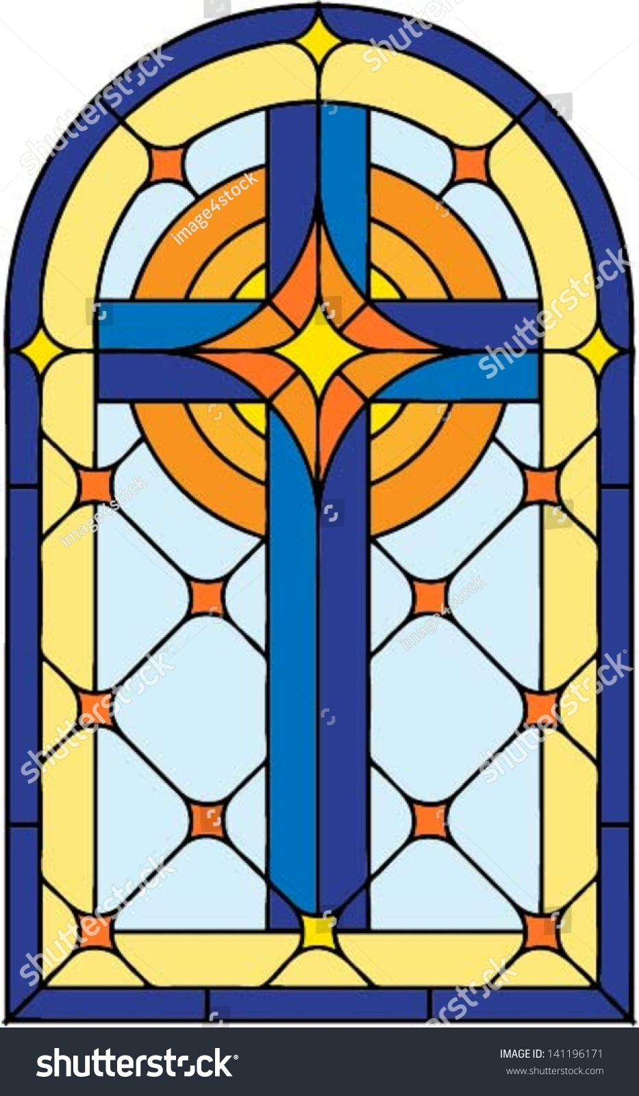 Window cross vector illustration stained glass stock for Window design clipart