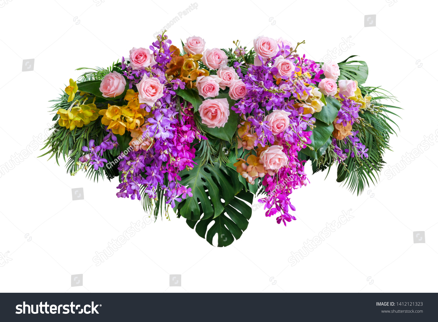 Pink rose and orchid flowers with tropical green leaves Monstera and palm frond bush, floral arrangement nature backdrop isolated on white background with clipping path. #1412121323