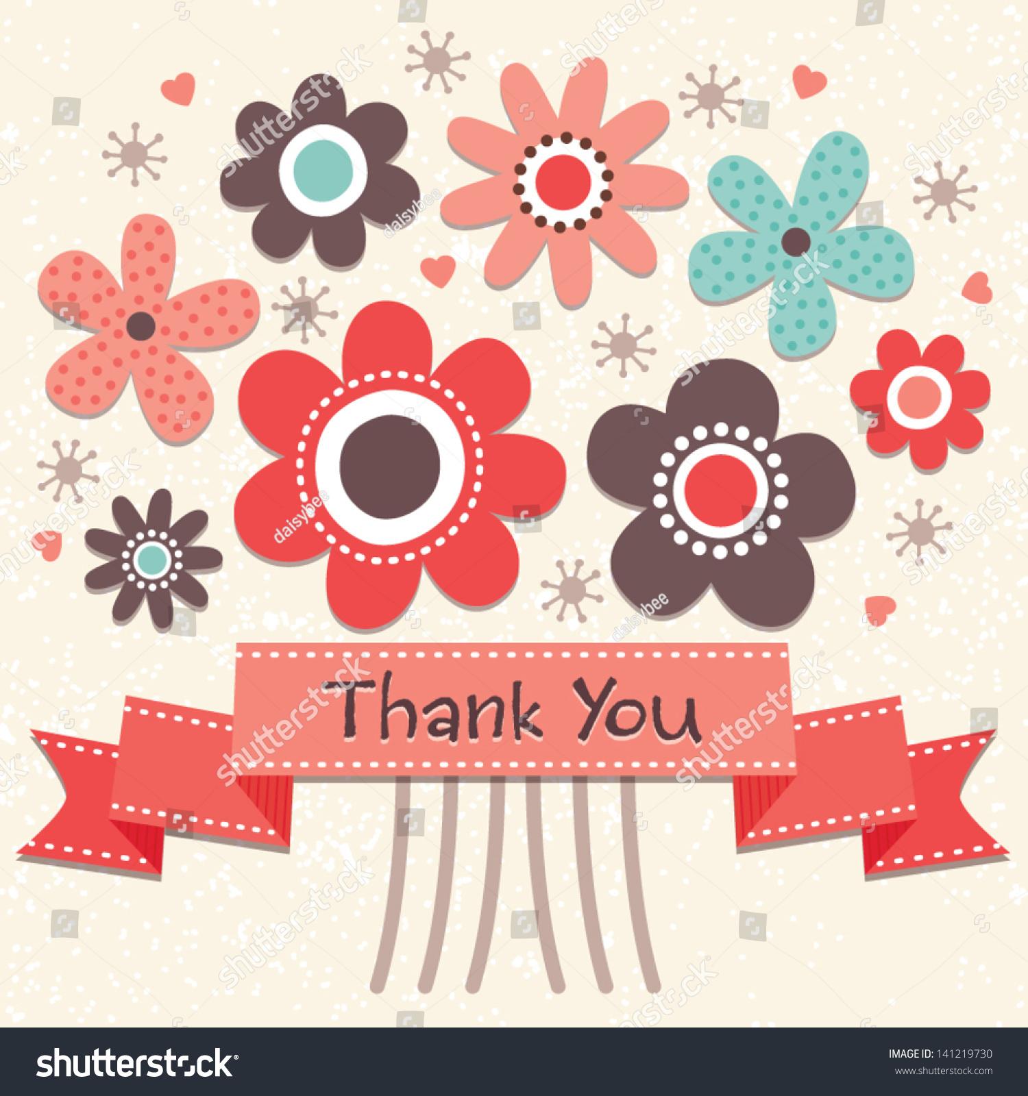 Thank You Card Vintage Ribbon Banner Stock Vector 141219730 ...