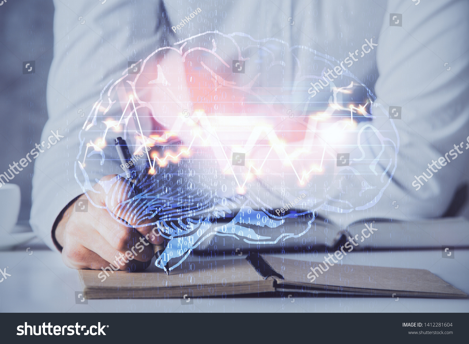 Man with multi exposure brain theme icons. #1412281604