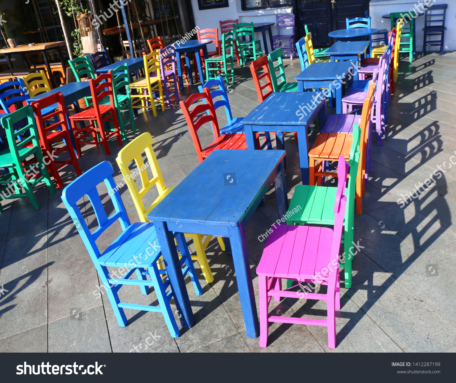 Colorful Tables Chairs Kasturkey Stock Photo Edit Now 1412287199
