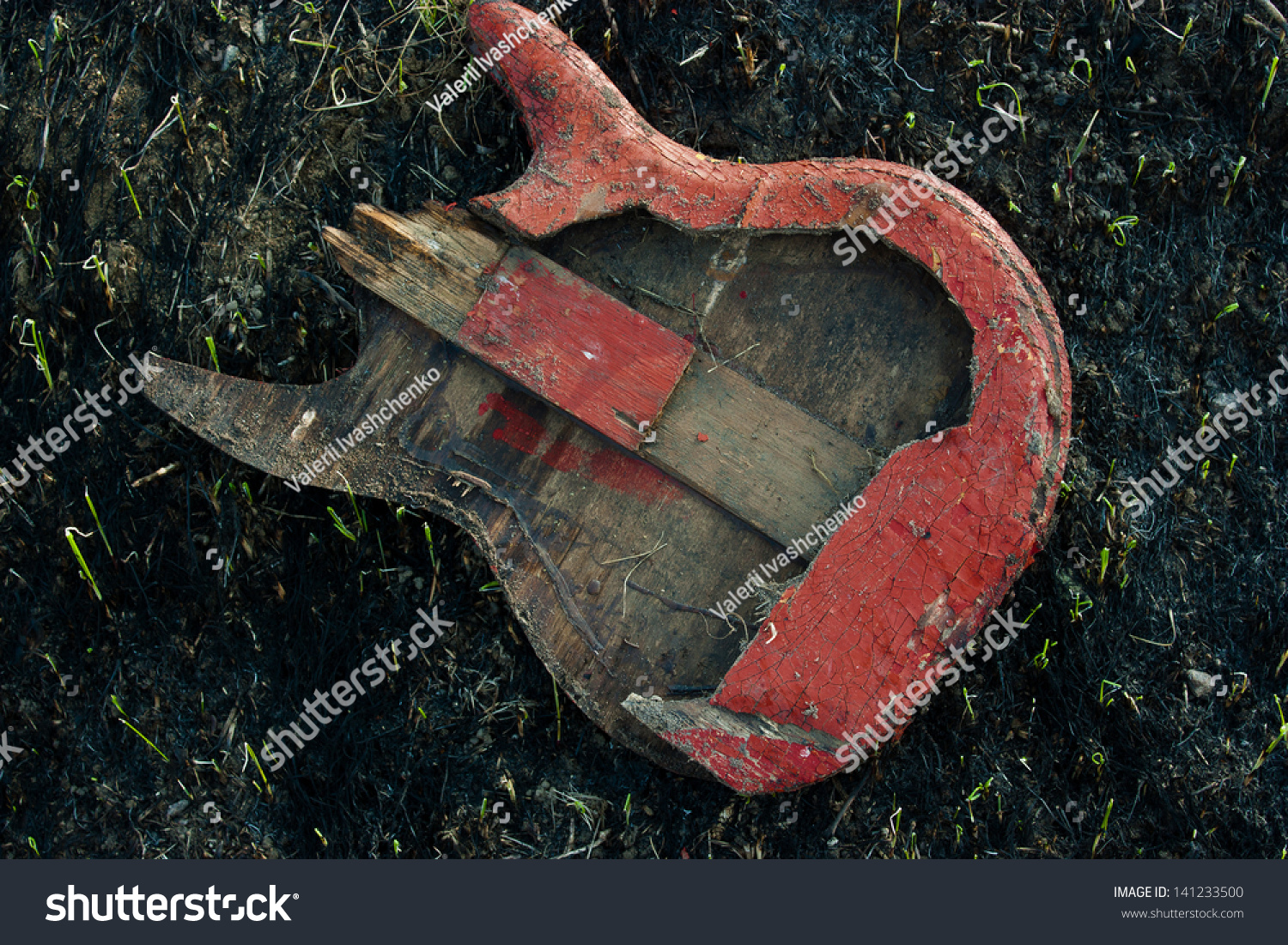 image electric guitar which was burned down on the burned ground stock photo 141233500. Black Bedroom Furniture Sets. Home Design Ideas
