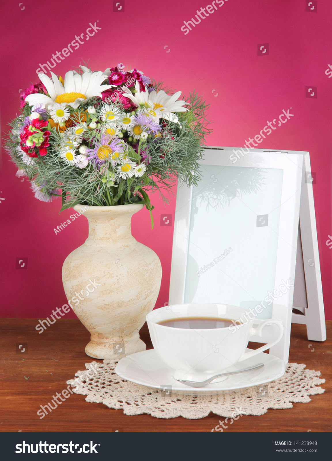 Beautiful Bright Flowers In Vase On Table On Gray Background Ez Canvas