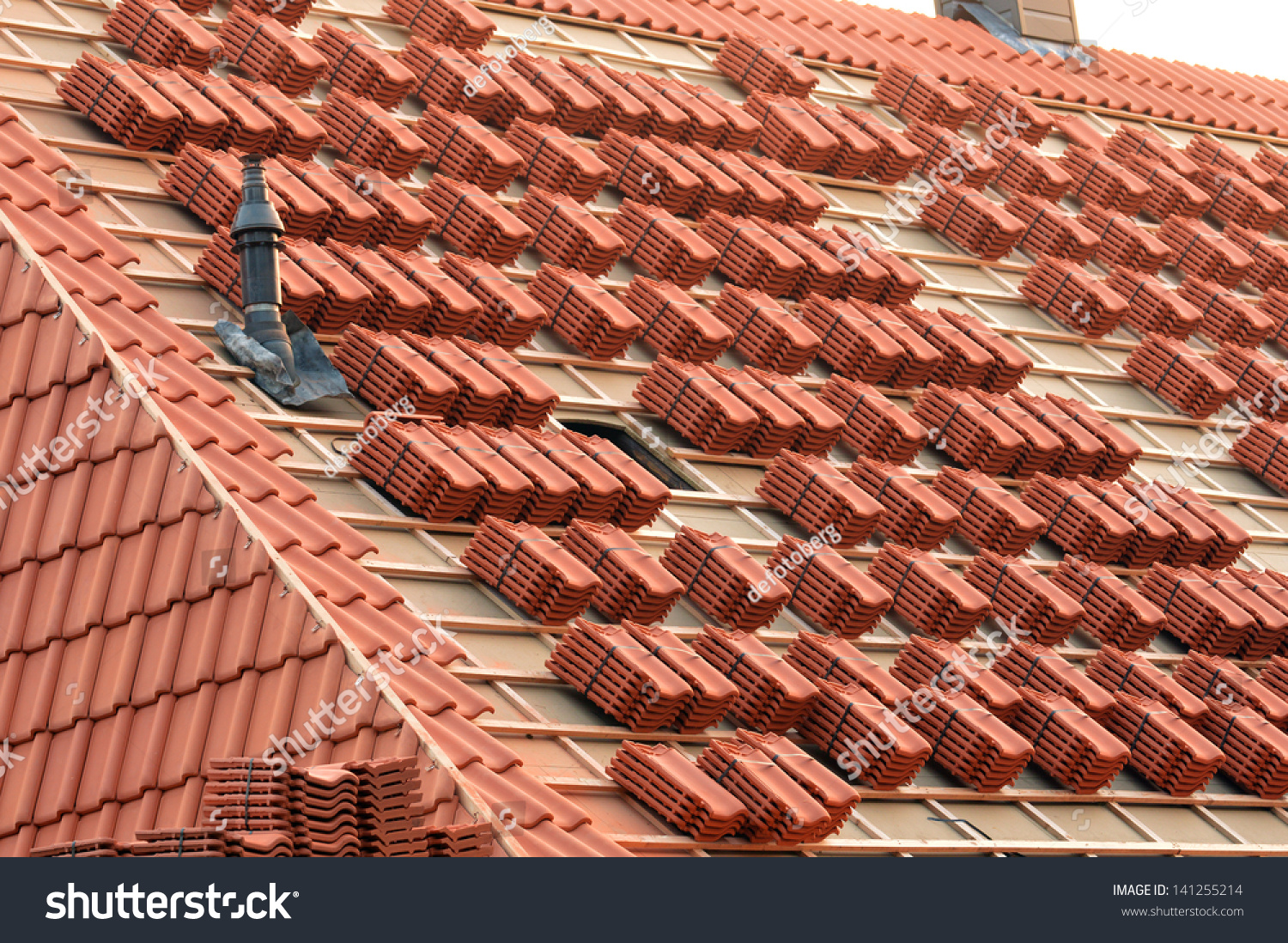 Roof Under Construction Stacks Roof Tiles Stock Photo