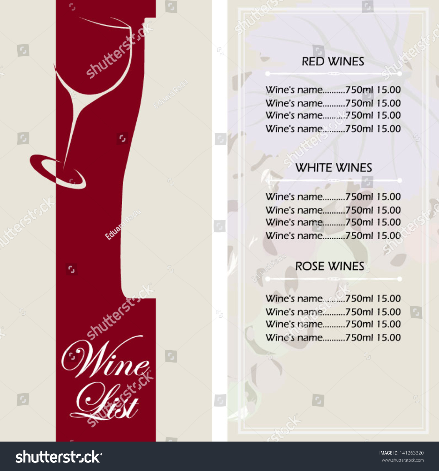 template for wine list stock vector illustration 141263320 shutterstock. Black Bedroom Furniture Sets. Home Design Ideas