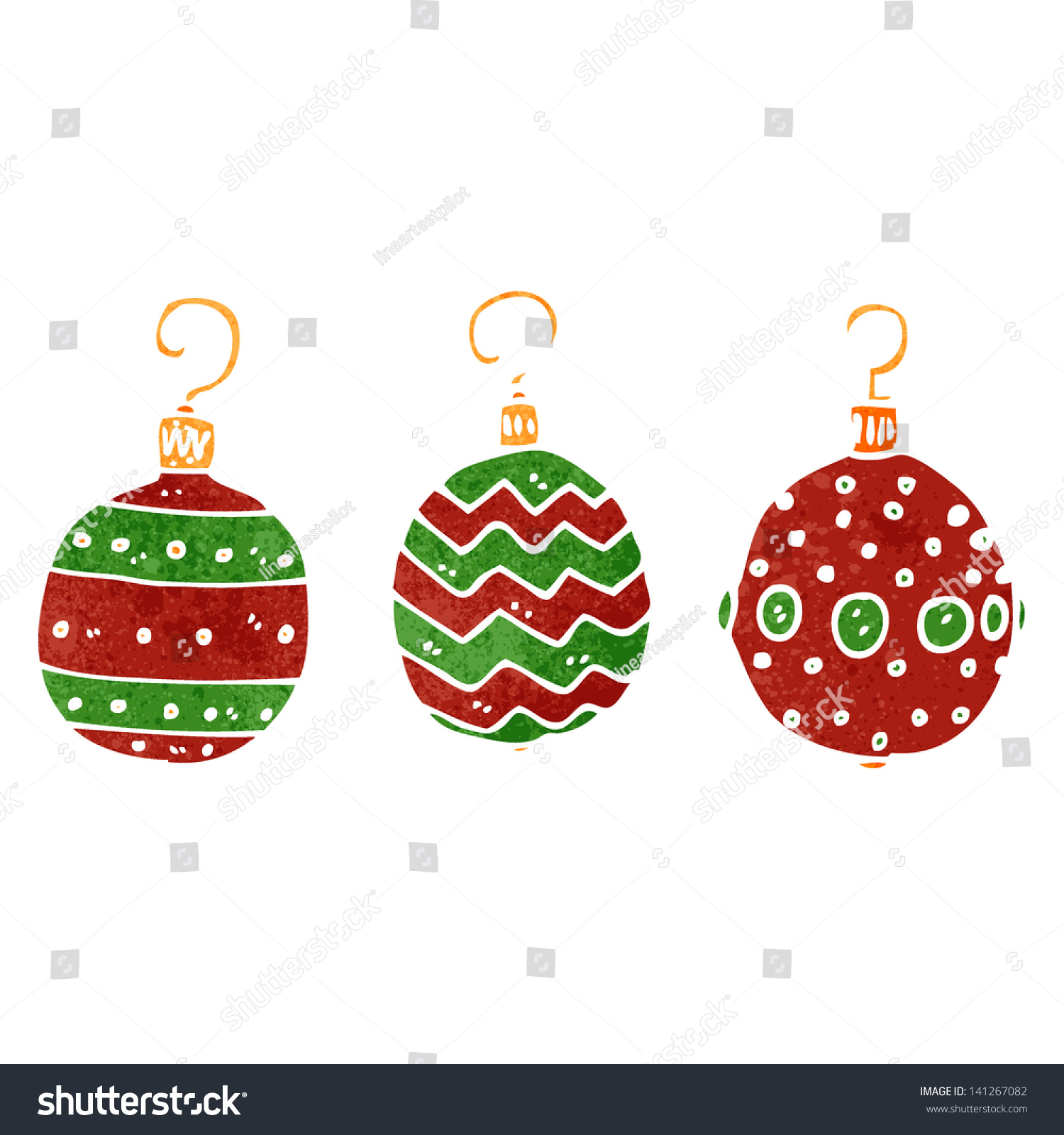 Retro Cartoon Christmas Decorations Stock Vector Royalty Free