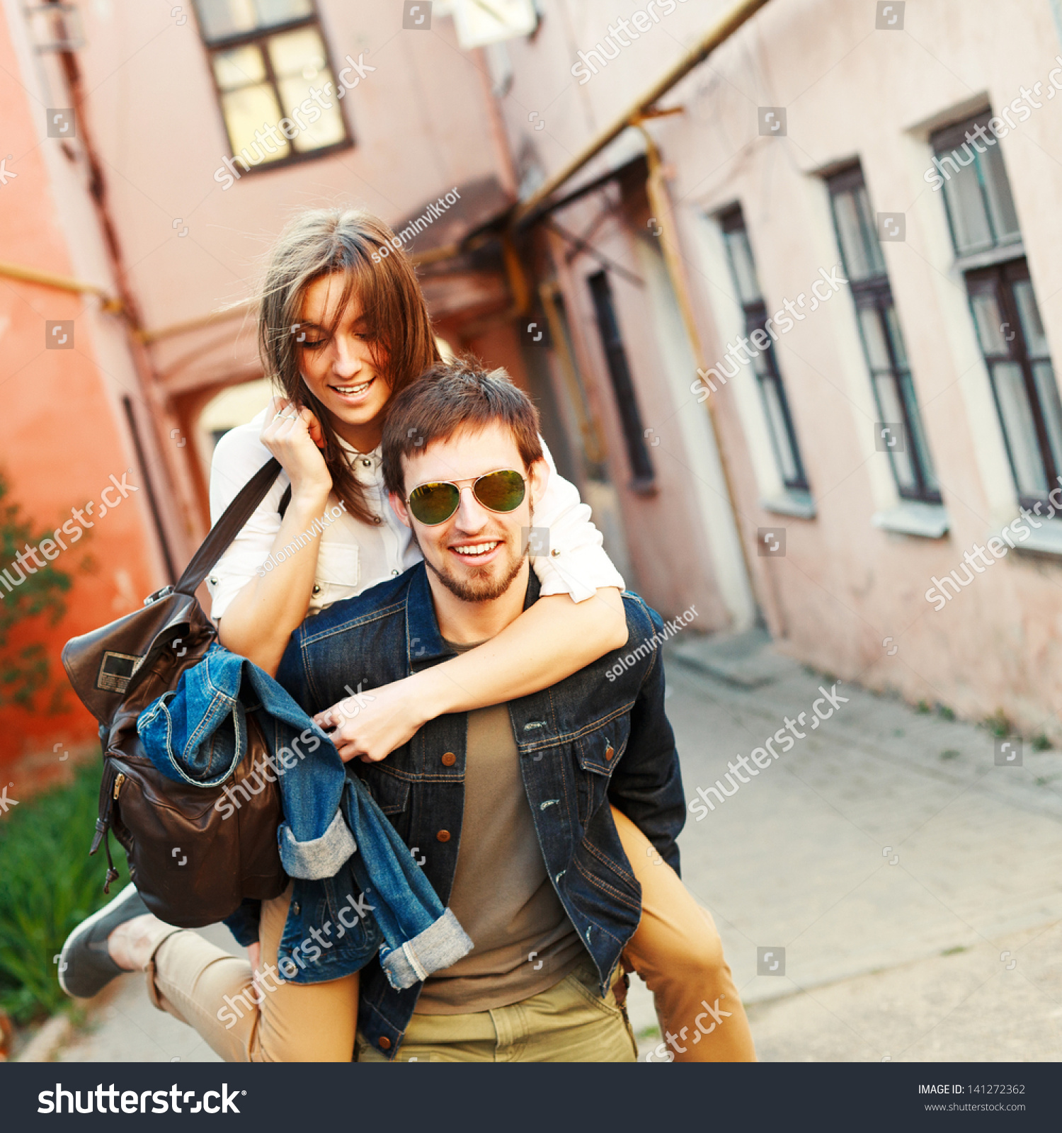 Young Beautiful Funny Couple Love Having Stock Photo